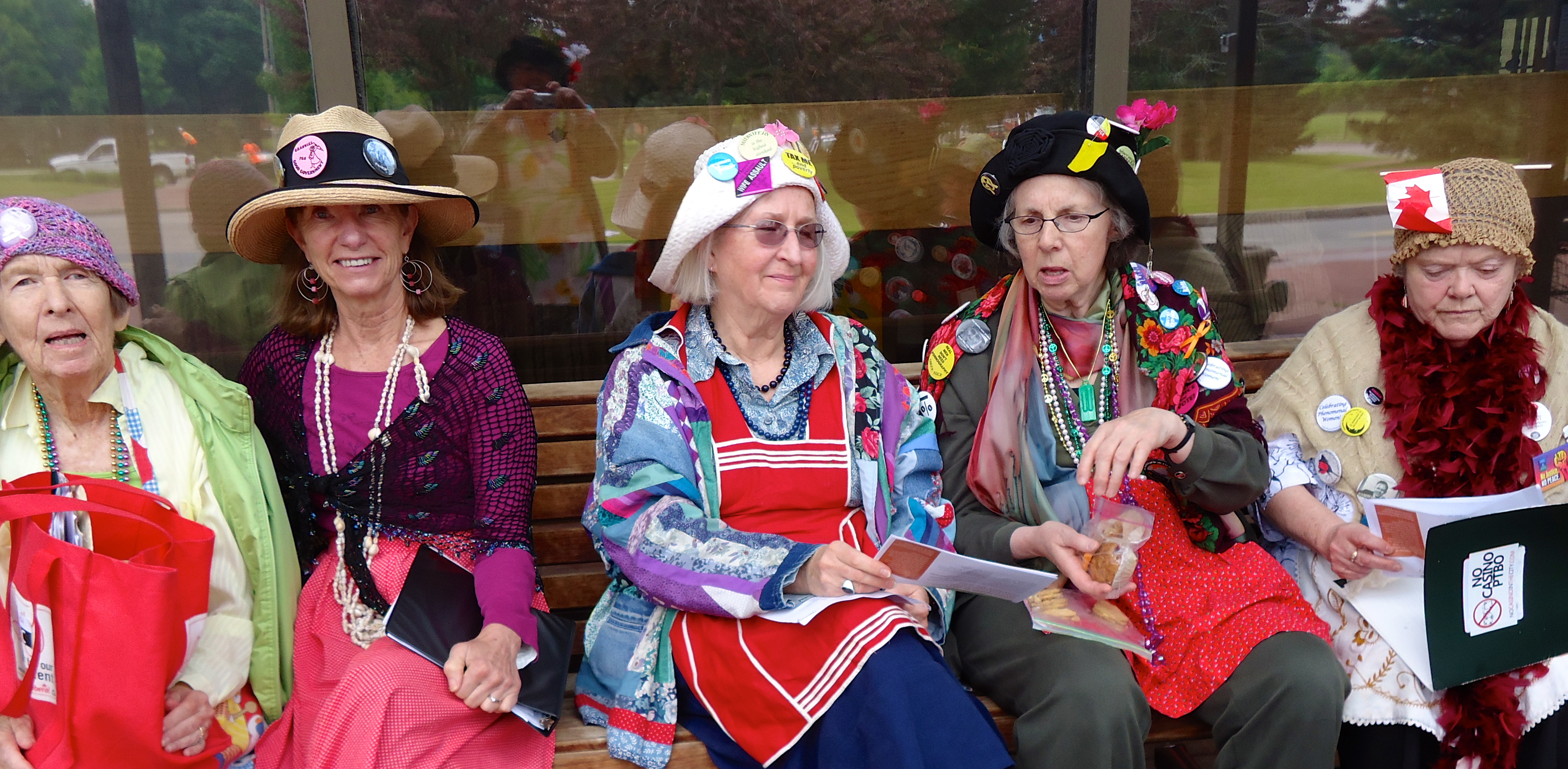 Grannies relaxing after the morning Hearings session at Pickering